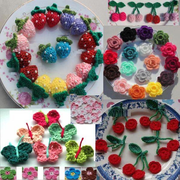 Acquista 6 Stili Colorati Fiori All Uncinetto Farfalla Cherry Strawberry Come Applique Vestiti Scarpe Fai Da Te Materiale Fatto A Mano Fiori Accessori