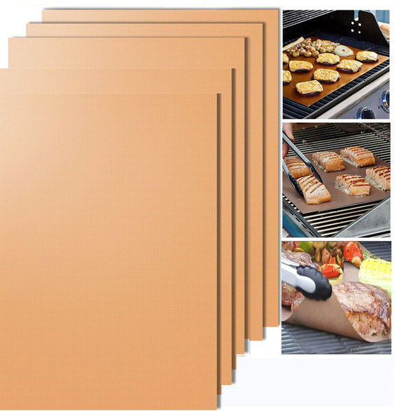 15.75 x 13 Inch Non Stick BBQ Grill Mat PFOA Free Reusable and Easy to Clean Works on Gas Charcoal Electric Grill 5 pcs/lot DEC278