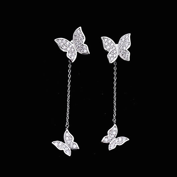 Nette Schmetterlings-Ohrringe Kristalldiamanten Prong Einstellung Vorder- und Rückseite Post Ohrstecker Lange Quaste 925 Sterling Silber Modeschmuck