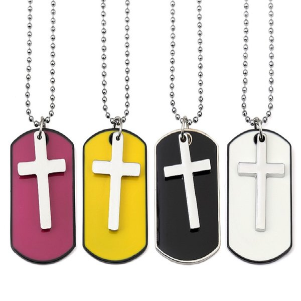 Fashion Jewelry Men Cross Dog Tag Pendant Necklaces For Men Military Card 70cm Beads Chain Hip Hop Men Necklace
