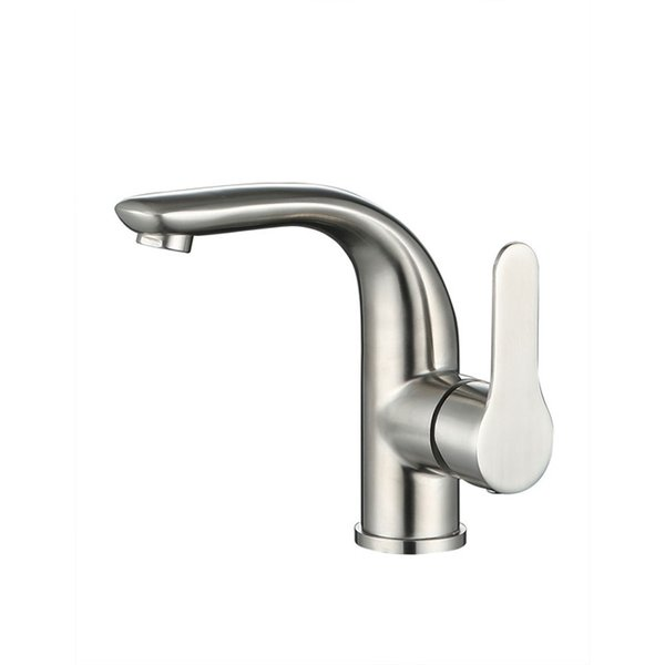 Modern 304 Stainless Steel Bathroom Sink Faucets Nickel Brushed Single Handle Single Hole Hot Cold Mixer Deck Mounted Basin Taps SSMP029