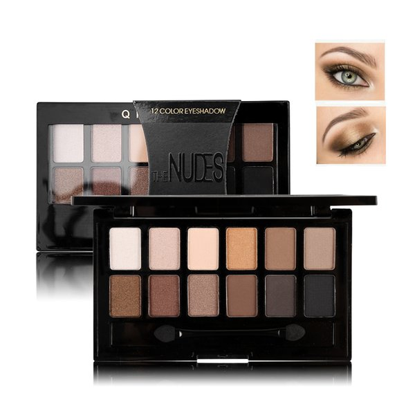 12 Colors Pro Nude Earth Color Makeup Eyeshadow Palette with Brush Smoky Eye Shadow Shimmer Matte Mineral Waterproof Kits