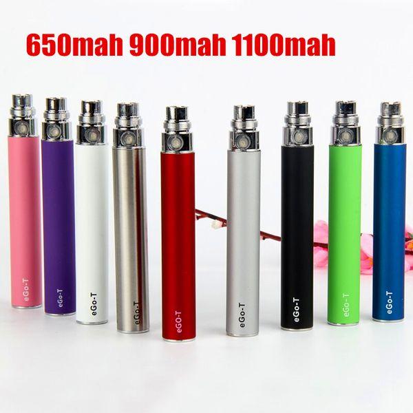E Cigarette Ego-T battery 650/900/1100mah colorful ego wax vaporizer pen for ego 510 thread CE4 MT3 H2 vape Atomizer e cig ecig cigs
