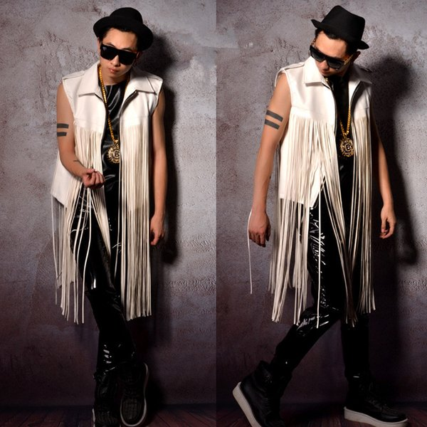 PU leather and tassels mosaic men vest male white tide waistcoat vest bar DJ DS costumes for singer dancer show prom performance clothing