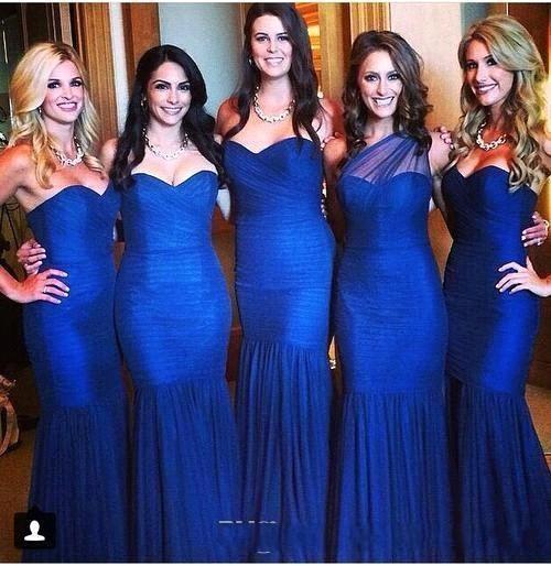 2016 Royal Blue Abiti Da Damigella D'onore Sexy Sirena A cuore Pieghe Increspate Piano Lunghezza Abiti Da Festa di Nozze Abiti Da Sera Formali BO9196