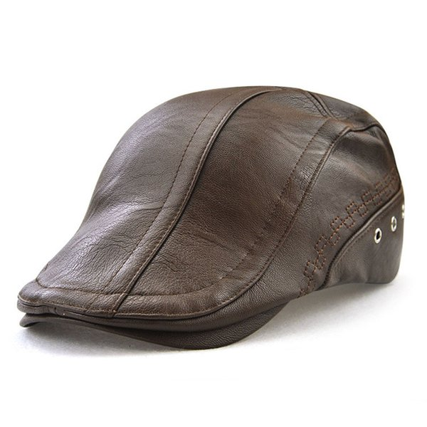 Men Flat Cap PU Leather Vintage Newsboy Caps Ivy Cabbie Driving Hunting Caps Adjustable Bucklen Curved Visor Duckbill Hats Unisex