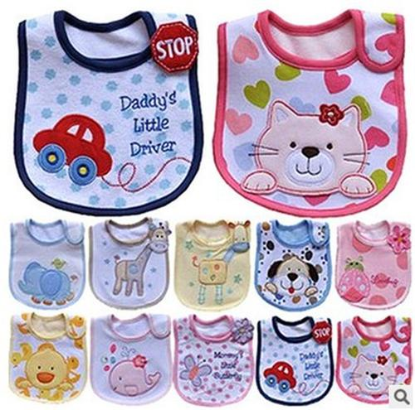 Baby Bibs Pure Cotton Cartoon Bib Three Layers Waterproof Saliva Burp Cloths Infant Feeding Safety Soft Cute Dripping Towel