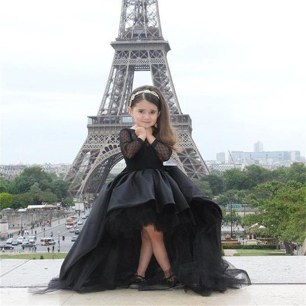Yeni Moda Hi-Lo Uzun Kollu Saten Custom Made Sevimli Küçük Çiçek Kız Elbise Kat Uzunluk El Yapımı Yaylar Çocuklar Balo Doğum Günü Elbise 12