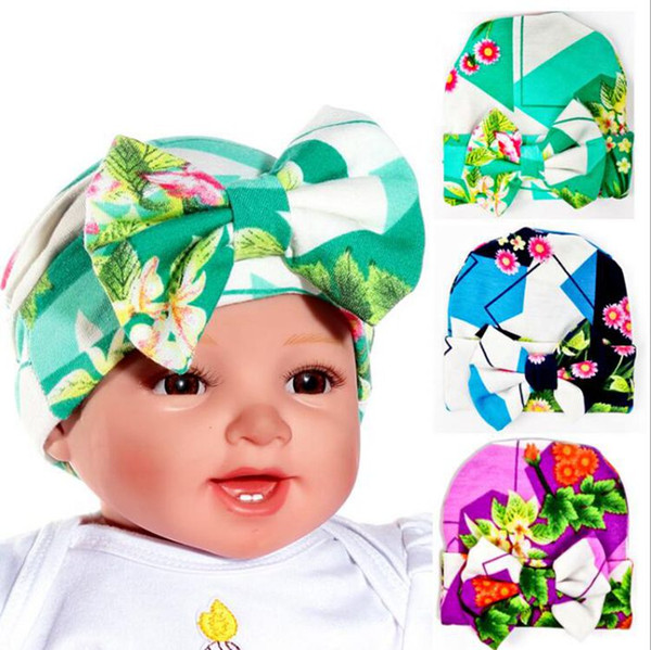 Baby Hats Knit Newborn Beanie Flowers Print Hats Winter Fashion Beanie Capes Bowknot Maternity Boutique Accessories 0-3months 64 Color G168