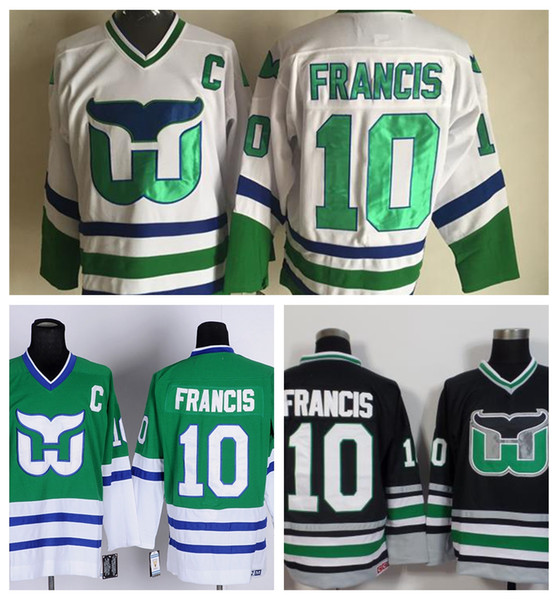 a75db363b Mens Old Time Hockey Hartford Whalers 10 Ron Francis Jersey Green White  Black Vintage Stitched New Best Quality Ron Francis Jersey C Patch