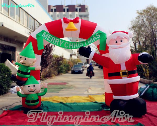 Arco inflable de Navidad de 3 m con entrada de Santa Elf para niños