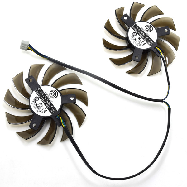 Wholesale- New Power Logic 75MM PLD08010S12HH 12V 0.35A Twin Frozr II 2 MSI R6790 N560GTX R6850 N460GTX Graphics Video Card Dual Cooler Fan