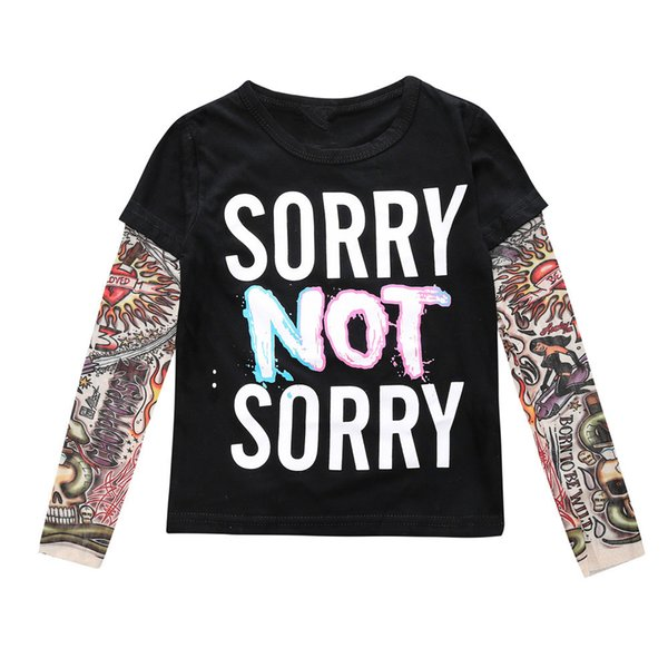 INS Kids Autumn Baby Clothes Boys Girls Long Sleeve T-shirt Patchwork Hip Hop Fashion Tattoo Sleeve Tops Tees Children Kids Clothing 363
