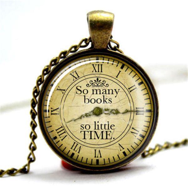 10pcs/lot So Many Books So Little Time - Bookworm Quotation Necklace Glass Photo Cabochon Necklace