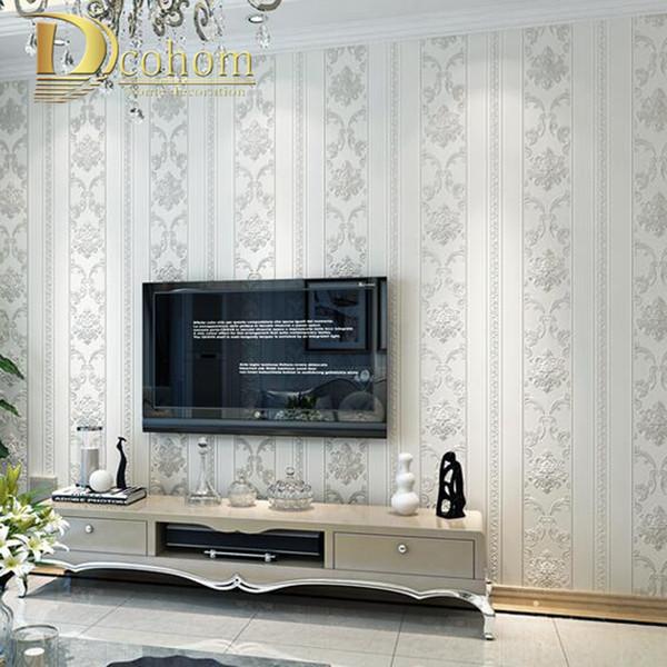 Atacado-Modern Luxury Homes Decor Listrado Europeu Papel De Parede Do Damasco Para Paredes Quarto Sala de estar Em Relevo Cinza Papel De Parede Bege Rolls