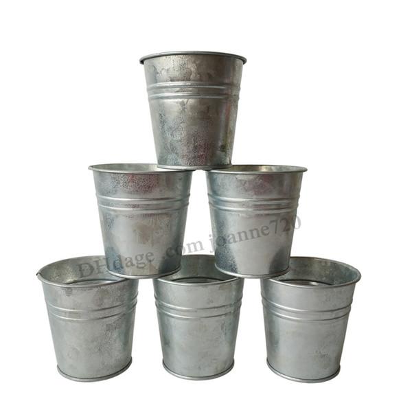 8 * 8 CM Frete Grátis Atacado Pure Galvanizado Planta pote caixa de lata vasos de flores plantadores Varanda Pequeno Viveiro pote