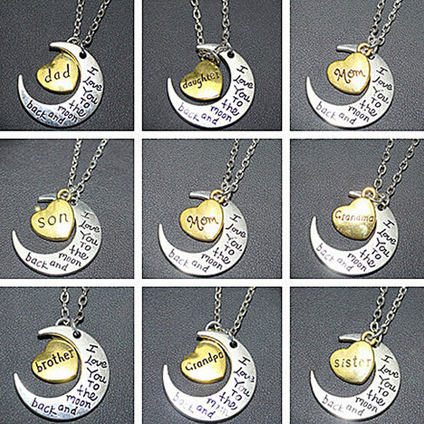 Mixed order moon heart necklace pendant I Love You To The Moon and Back Pendants Necklaces Dad Mom Brother Sister charm Necklace gifts