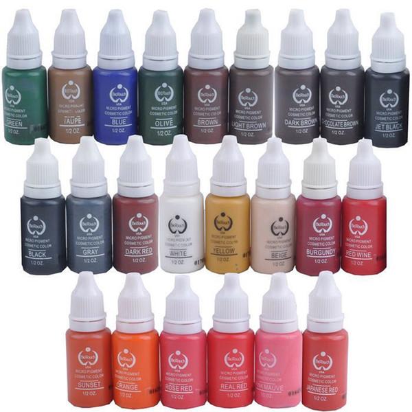 Al por mayor-5 PC / porción de maquillaje permanente de tinta del tatuaje cosmético micro pigmento color 1 / 2OZ (15 ml) tintas del tatuaje para el tatuaje