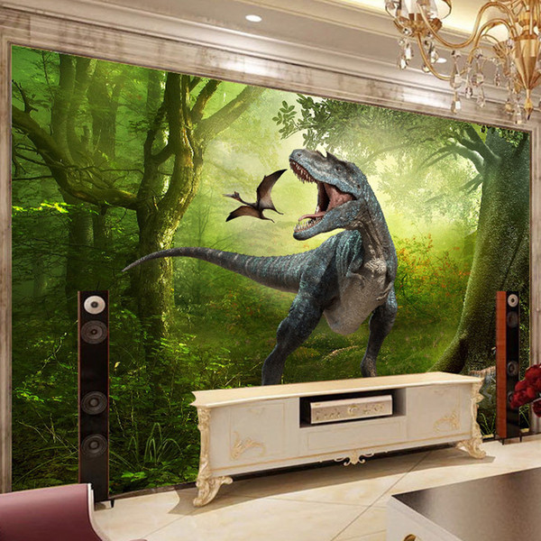 3D stereoscopic dinosaur fantasy mural murals sofa backdrop wallpaper for kids room Living room backdrop TV background wallpaper