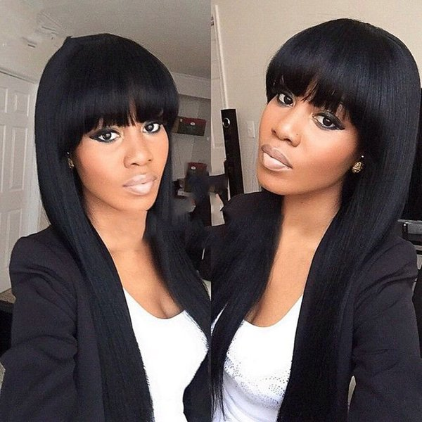 Density 150% Brazil Virgin Hair 100% Straight Wig Owl Shoes Black Women Hair No Tail Full Lace Wig My Shoes Human Hair Black Female KABELL