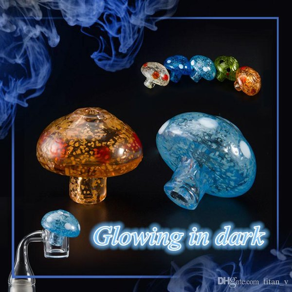 Glow In Dark Mushroom Carb Caps Colored Glass Dabber Oil Rigs Quartz Banger Nails Glass Water Pipes Dabbers