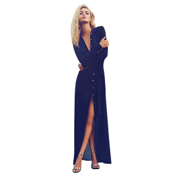 Wholesale- Sexy Women V Neck Long Sleeve Split Button Long Cardigan Blouse Shirt Beach Maxi Dress Deep Blue
