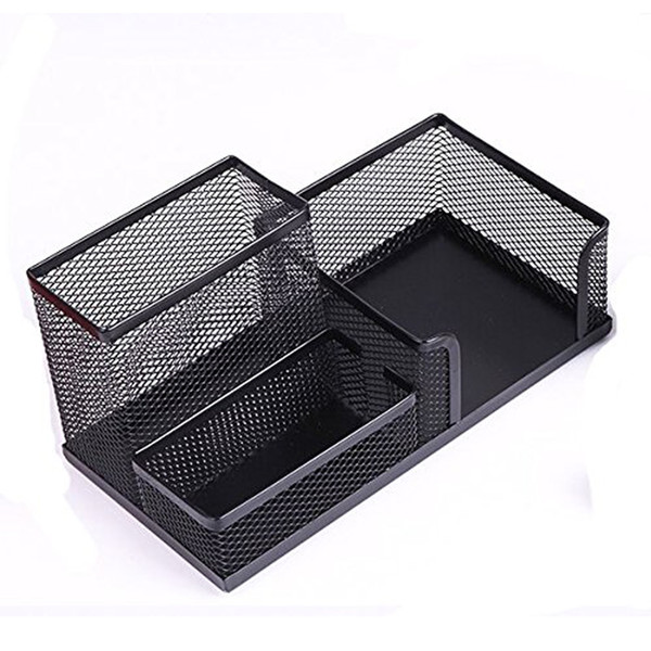 mesh office supplies desktop organizer with 3 components pen holder cell phone holder card case cosmetic