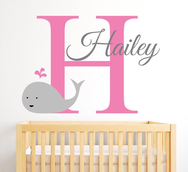 Personalized Name Wall Decal Cute Smily Whale Wall Stickers For Kids Room Customize DIY Wall Art Mural