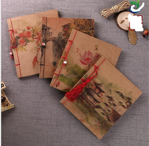 vintage Kraft paper notebooks journal chinese style classical notepads office school notes book classical notepad handmade travel diary gift