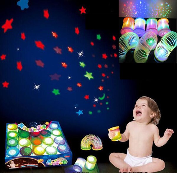 NEW LED Toys Wholesale Magic Star Projection Rainbow Circle Kids Gift toy plastic spring Toys coil stretch ring toy Projection Lamp