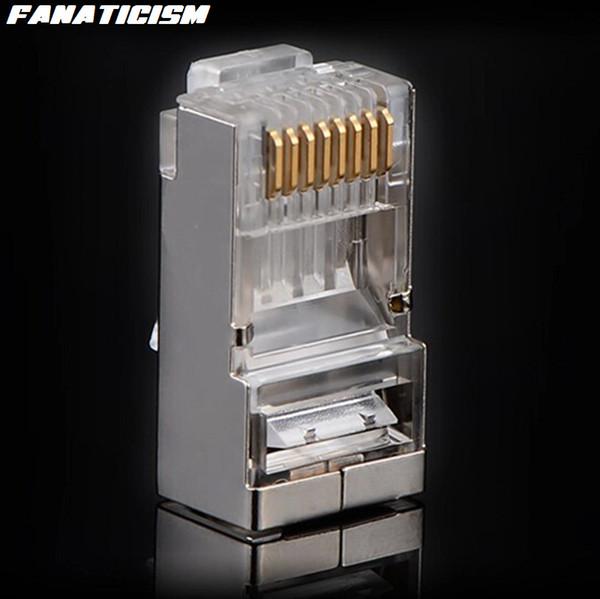 best selling 5000pcs lot Top Quality Metal Shield RJ45 8P8C CAT5E Modular Plug Network RJ-45 CAT5 Ethernet Lan Cable Modular Plug Adapter Connector