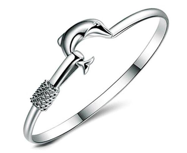 20pcs/lot hot gift factory price 925 silver charm bangle Fine Noble mesh Dolphin bracelet Girl / Madam fashion jewelry
