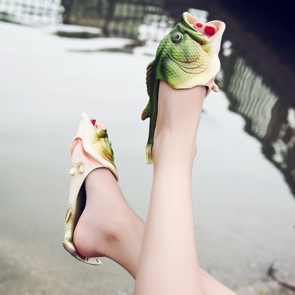 Fish Slippers Handmade Summer Fish Sandals Fish Beach Slippers Unisex Creative Shoes Kids Couple Open Toe Flat Novelty Adult Shoes New J576
