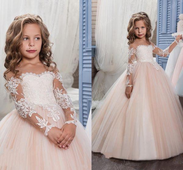 Princess Vintage Beaded Arabic 2017 Flower Girl Dresses Long Sleeves Sheer Neck Child Beautiful