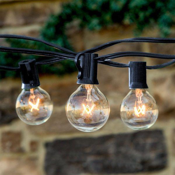 2*25Ft 25 Bulbs String Lights Clear Globe G40 Bulb String Light Set Indoor/Outdoor Christmas Wedding Party Patio String Lights Umbrella Lamp