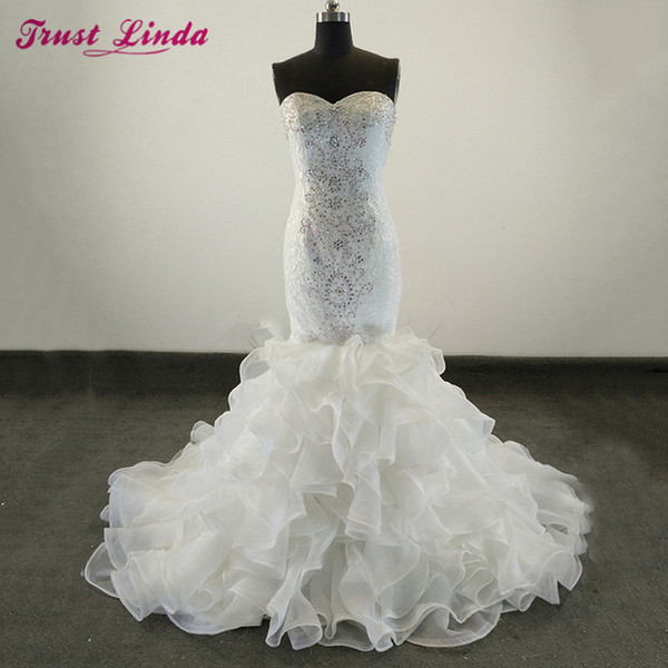 High Quality New Fashion Lace mermaid wedding dress Charming Sweetheart Expensive bridal vestido de noiva robe de mariage Real Customize