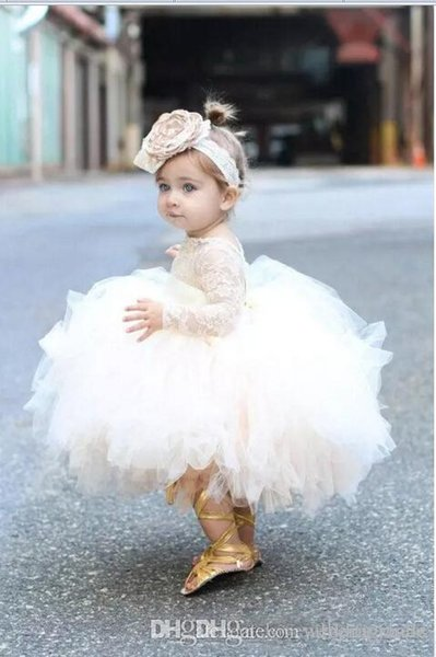 Lovely Flower Girls' Dresses Ivory Baby Infant Toddler Baptism Clothes Flower Girl Dresses With Long Sleeves Lace Tutu Ball Gowns