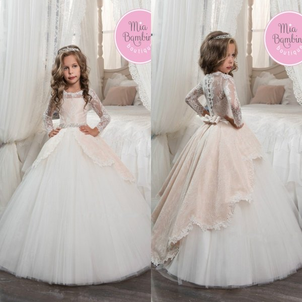 best selling Vintage Long Sleeves Blush White Flower Girls Dresses for Weddings Princess A Line Jewel Neck Bow Sash Long First Communion Pageant Gowns