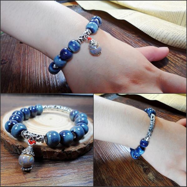 XS YENI Viraj Bilezik Tibet Gümüş Kaplama Süs Mavi Renk Bilezikler ile Değişken Moda Takı Bilezikler Toptan
