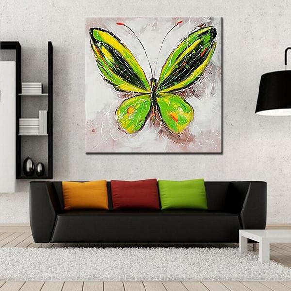 Peint à la main belle peinture à l'huile animale de papillon sur toile moderne abstrait mur Art décoration à la maison No Frame