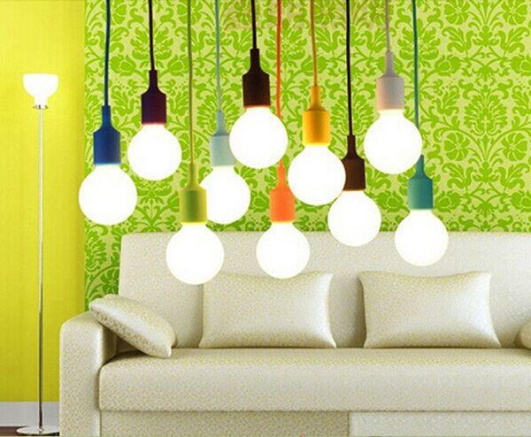 Colorful Silicone Pendant Lights E27 Holder Vintage Modern Fashion ...