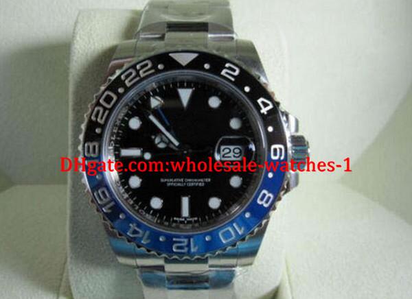 De lujo de alta calidad para hombre Relojes automáticos MENS ACERO INOXIDABLE GMT II BLACK BLUE CERAMIC 116710 BLNR