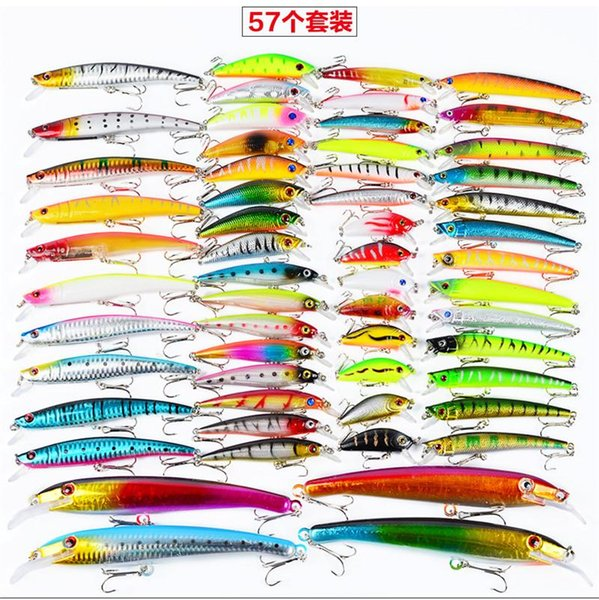 57pcs/lot ABS Plastic High Quanlity Fishing Lures Set Mixed 8 styles Minnow Lure Crank Bait Pencil and Rattlin Baits