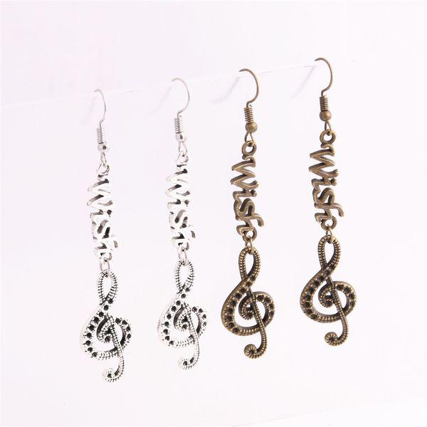 12pcs/lot Metal Alloy Zinc Letter Wish Connector Music Note Pendant Charm Drop Earing Diy Jewelry Making C0760