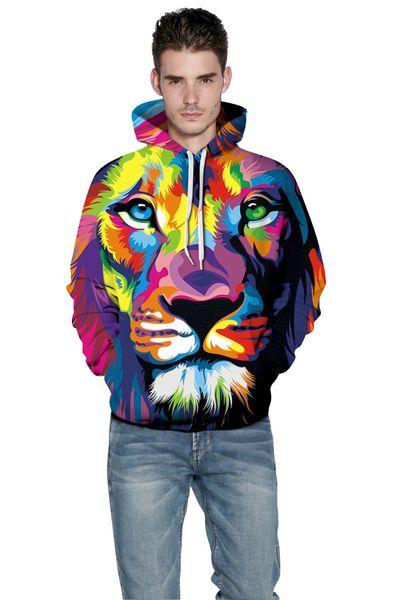 Mens jacket explosion Hooded Sweater Hoodie lion digital printing jumper Sweater Size sport Baseball Jacket