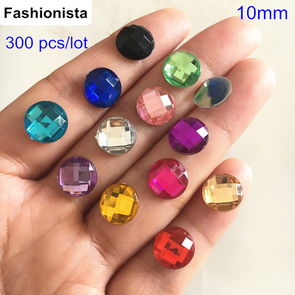 10mm Round Flat Back Faceted Rhinestone Beads,Acrylic Rhinestone Cabochon For DIY Jewelry & Crafts - Free Shipping, 300 pcs