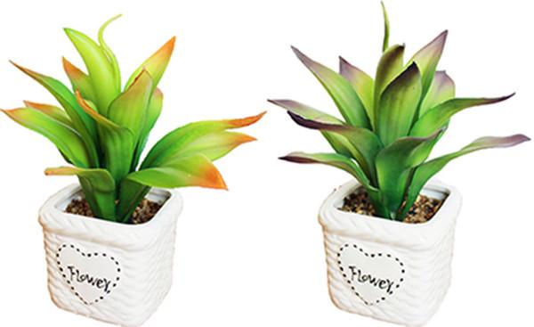 Free Shipping Artificial Ceramic Bonsai White Pots With Vivid Dynamic Leaves Plants DIY Small Planter Succulent Plants Decor Ornaments