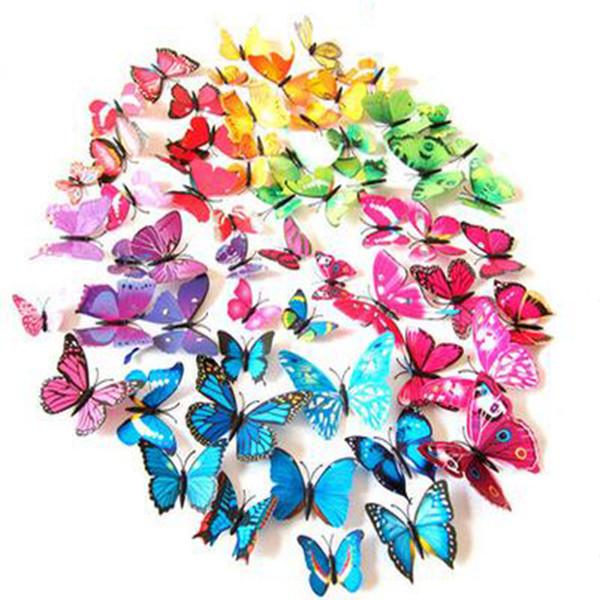 Pegatinas de pared 3D Decoración de la mariposa Pegatinas de pared extraíbles Butterflys para sala de estar Pegatinas de mariposa Decoración del hogar 1lot = 1set = 12pcs