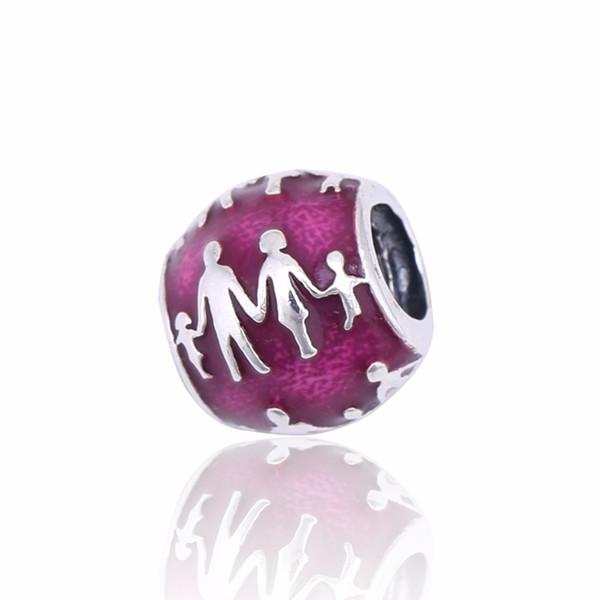 2017 Europeu Diy Fit Pandora Pulseira Authentic 925 Sterling Silver Família Encantos De Prata Com Violeta Esmalte Translúcido Para Fazer Jóias