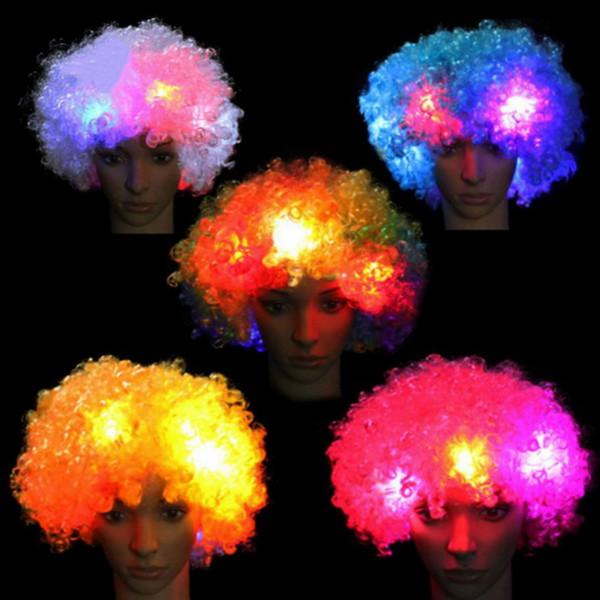 2017 Colorful Clown Cosplay Ondulado LED Light Up peruca de cabelo intermitente Fãs engraçados Circus Halloween Carnival Glow Party Supplies SY0023